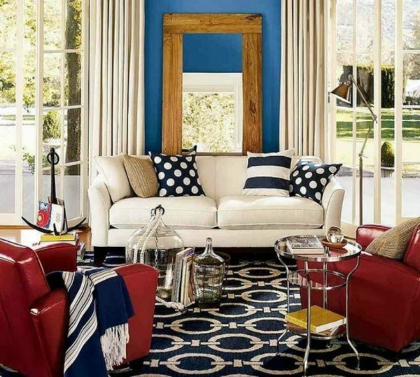 Striped decoration ideas imagine your homes for Red and blue living room ideas