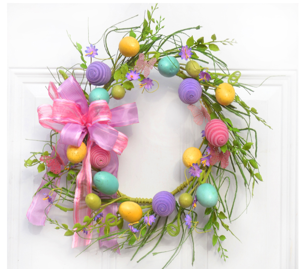 4777 pastel egg wreath - Easter Decorating Ideas